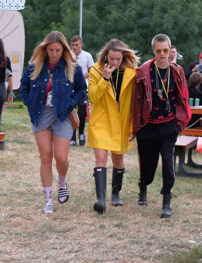 Margot Robbie and Cara Delevingne at Glastonbury Festival 2017