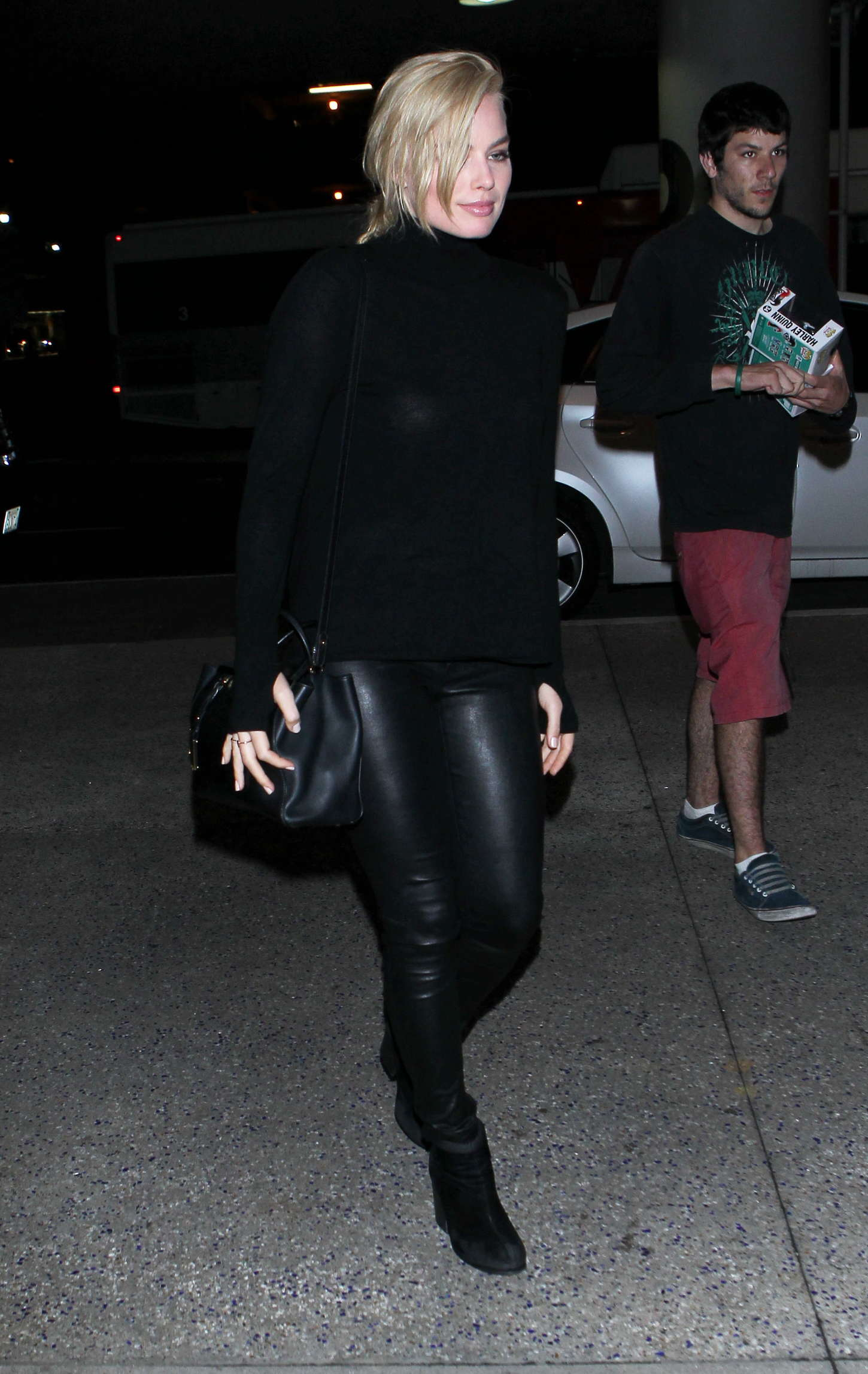 Margot Robbie in Leather at LAX Airport in Los Angeles