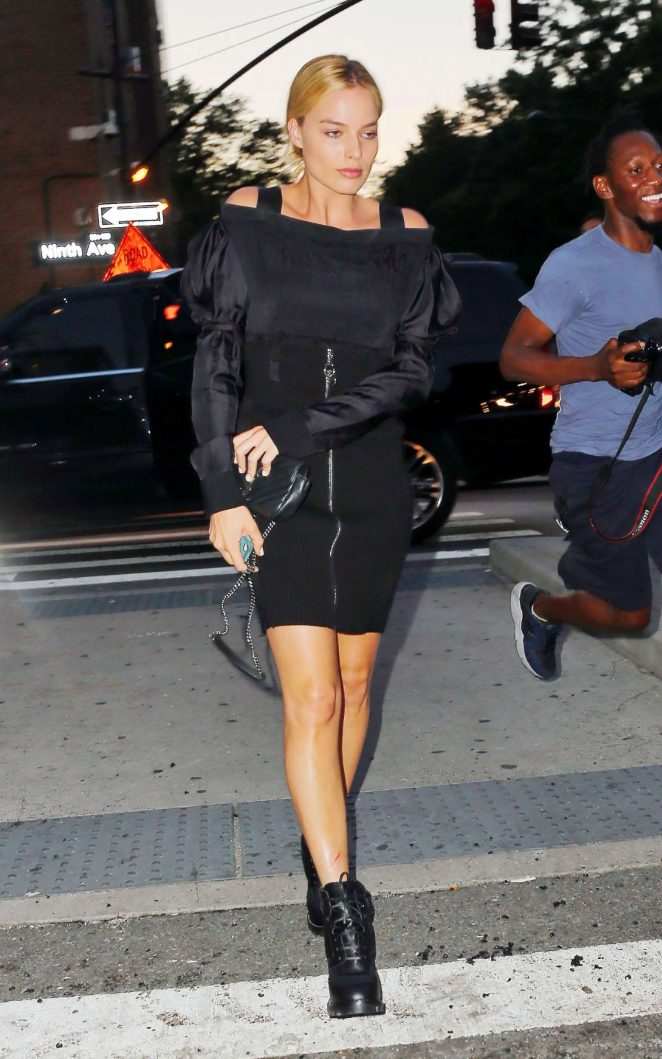 Margot Robbie in Black Dress out in NY