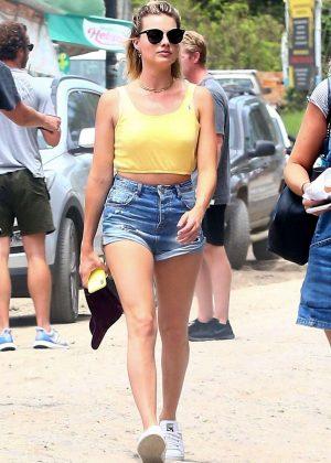 Margot Robbie in Denim Shorts - Out in Costa Rica