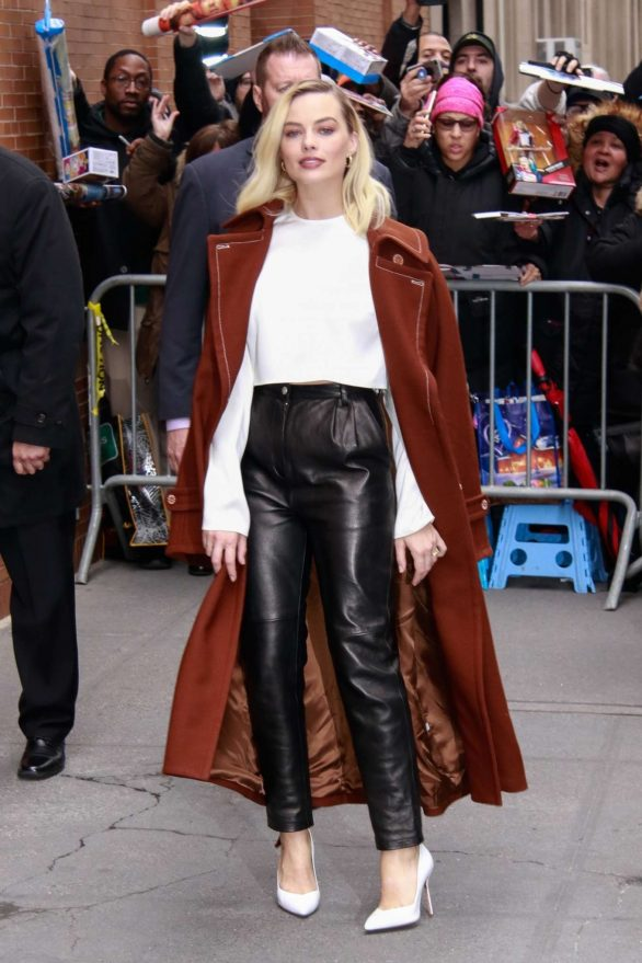 Margot Robbie in Leather Pants and Long Coat - Out in New York