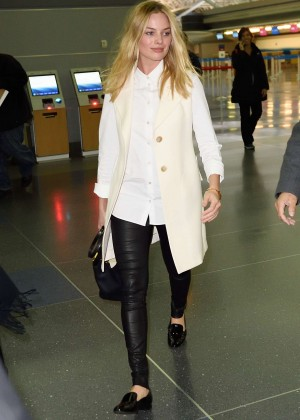 Margot Robbie in Leather Pants at JFK Airport in NYC