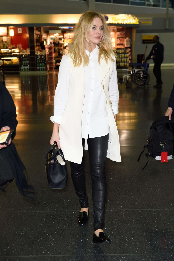 92ac46dc260b7b Margot Robbie in Leather Pants at JFK Airport -03 | GotCeleb