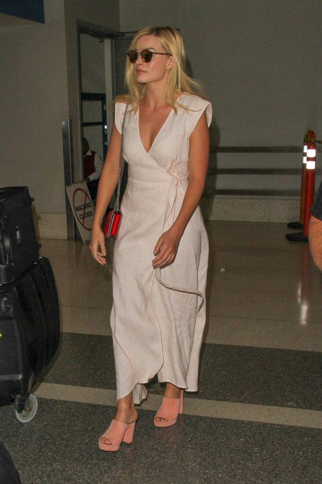 Margot Robbie in Long Dress at LAX Airport in Los Angeles