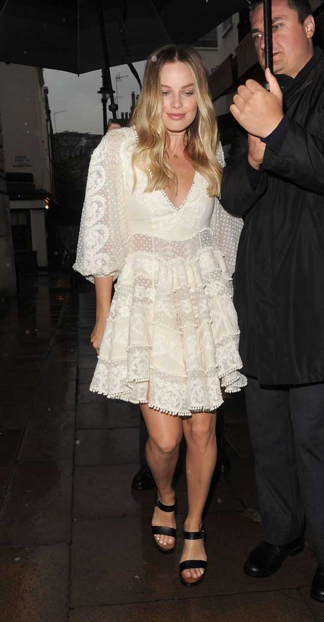 Margot Robbie in White Dress Night Out in London