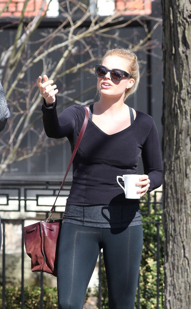 Margot Robbie in Leggings Out in Toronto