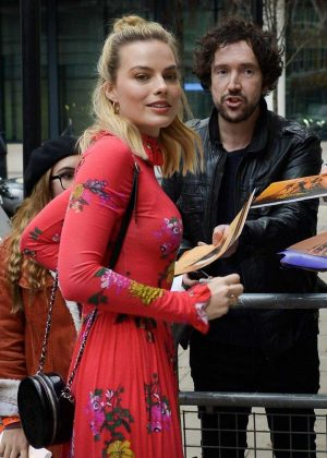 Margot Robbie - Seen Outside of the BBC Radio 1 studios in London