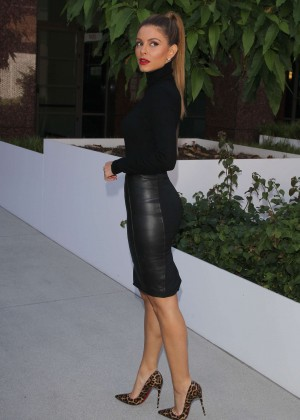 Maria Menounos in a black leather skirt in LA