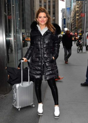Maria Menounos in Black Jacket Out in New York