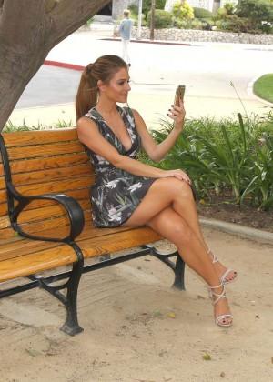 Maria Menounos Leggy in Mini Dress -08
