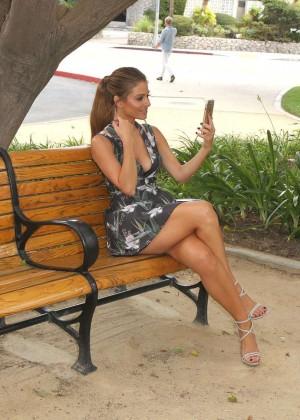 Maria Menounos Leggy in Mini Dress -11