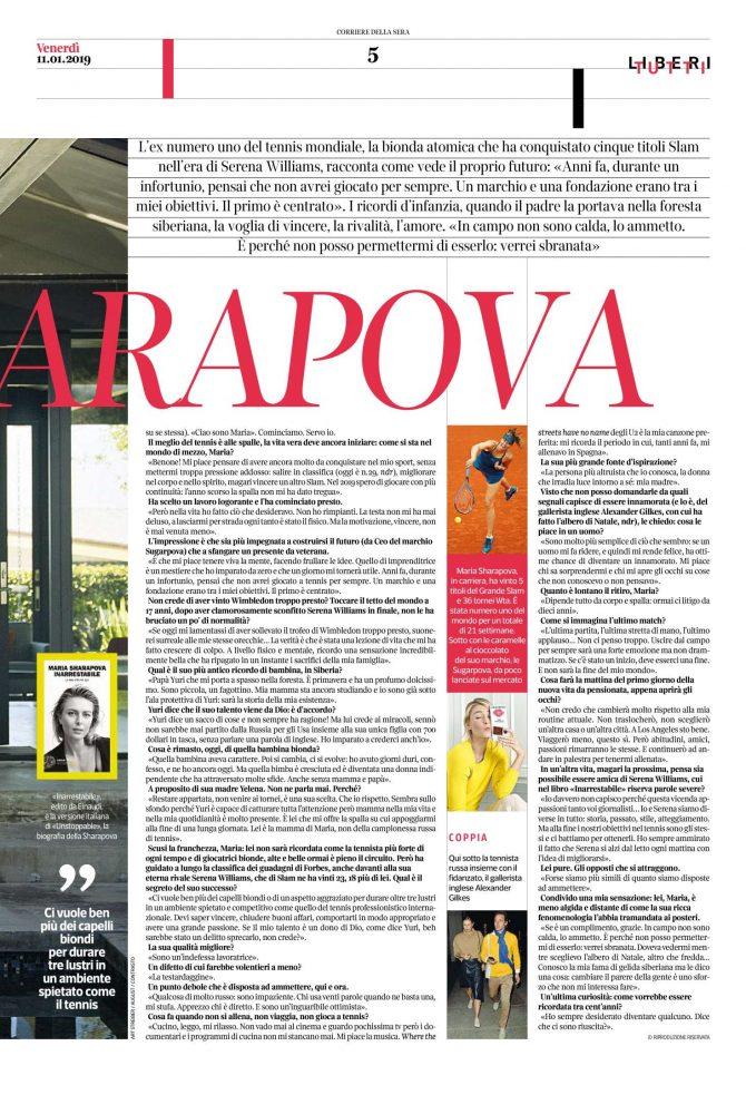 Maria Sharapova: Corriere della Sera Liberi Tutti 2019 -01