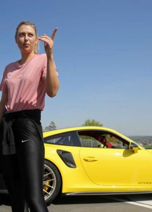 Maria Sharapova - Driving a Porsche 911 RT2 RS with Mark Webber in Stuttgart