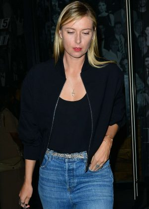 Maria Sharapova in Jeans Leaves Catch LA in West Hollywood