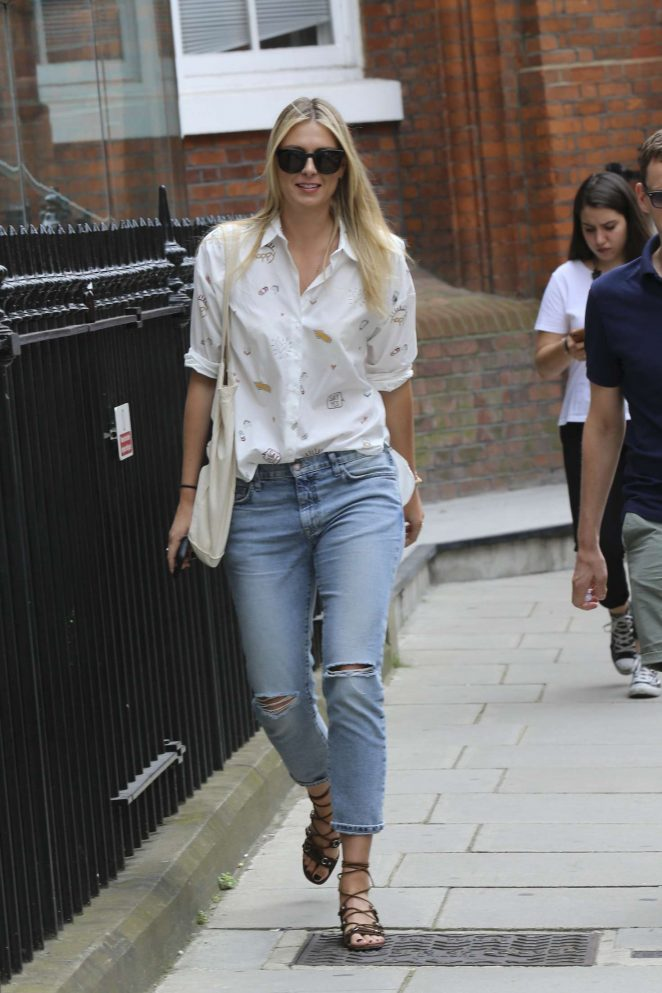 Maria Sharapova in Jeans out in London