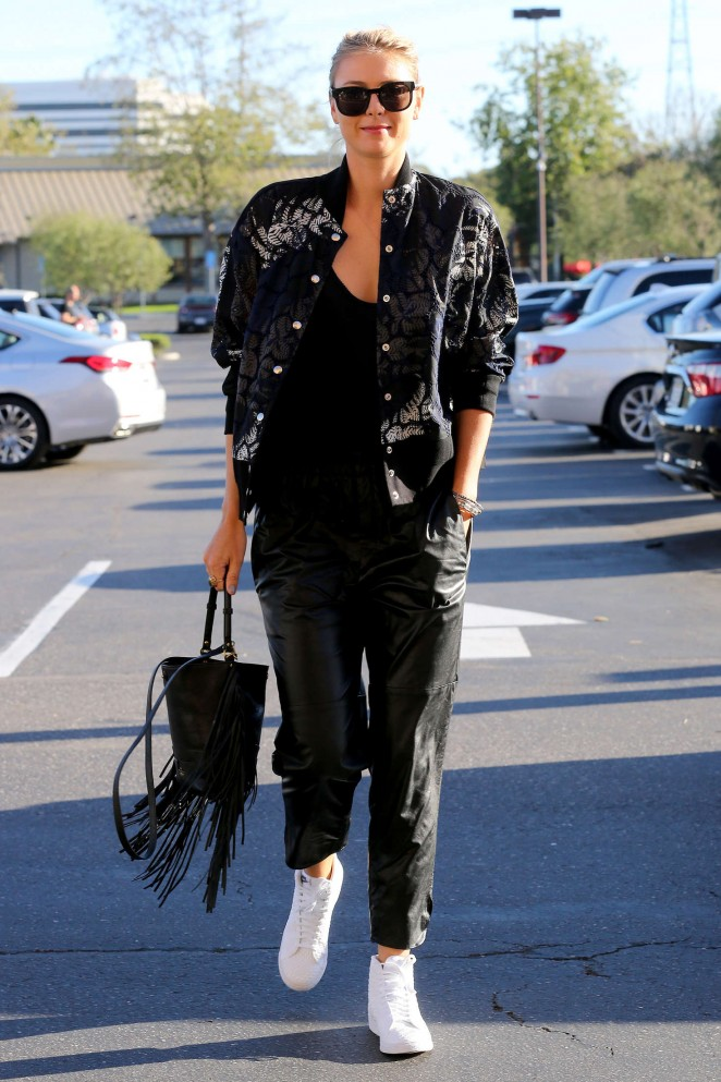 Maria Sharapova in Leather out in Los Angeles