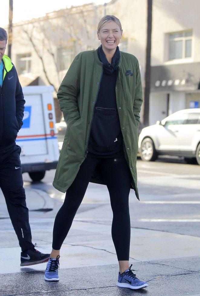 Maria Sharapova in Leggings Leaves Alo Yoga Store in Beverly Hills