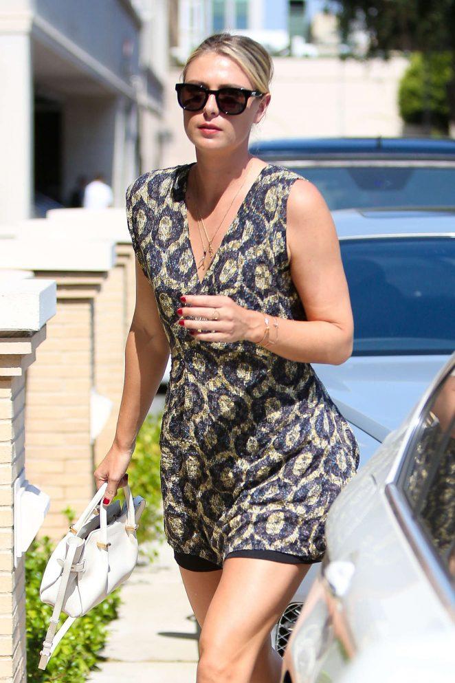 Maria Sharapova in Mini Dress at Il Pastaio in Beverly Hills