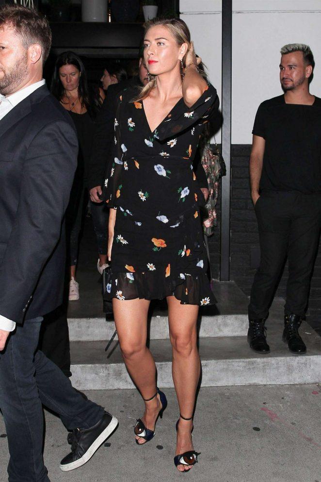 Maria Sharapova in Mini Dress - Leaves Cleo restaurant in West Hollywood