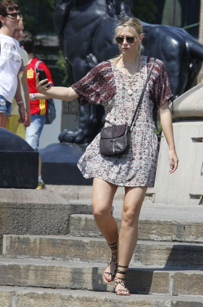 Maria Sharapova in Mini Dress out in Barcelona