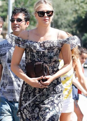 Maria Sharapova in Summer Dress out in Barcelona