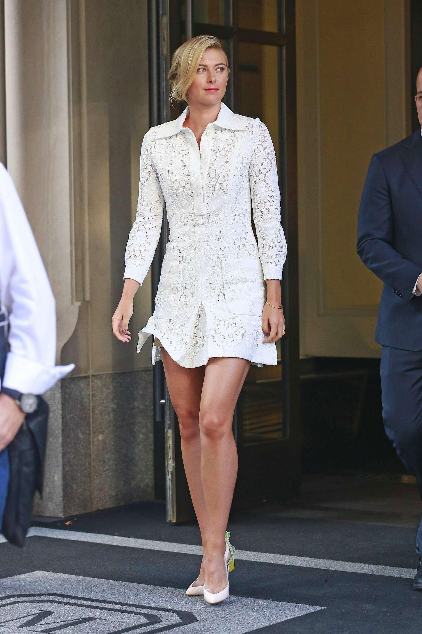 Maria Sharapova In White Mini Dress 11 Gotceleb