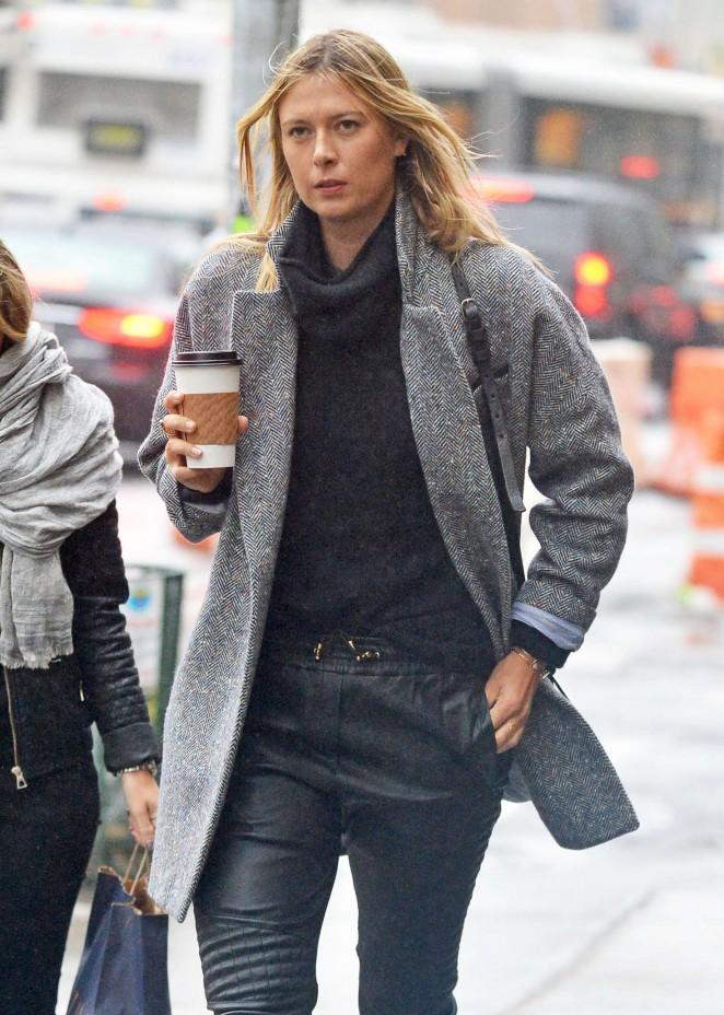 Maria Sharapova on a rainy day in New York City