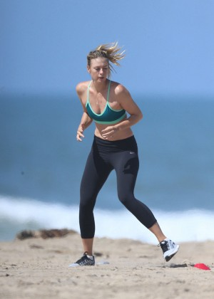 Maria Sharapova on the beach in Santa Monica