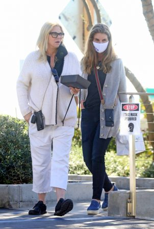 Maria Shriver and Sheryl Berkoff - Out to watch the Super Bowl in Montecito