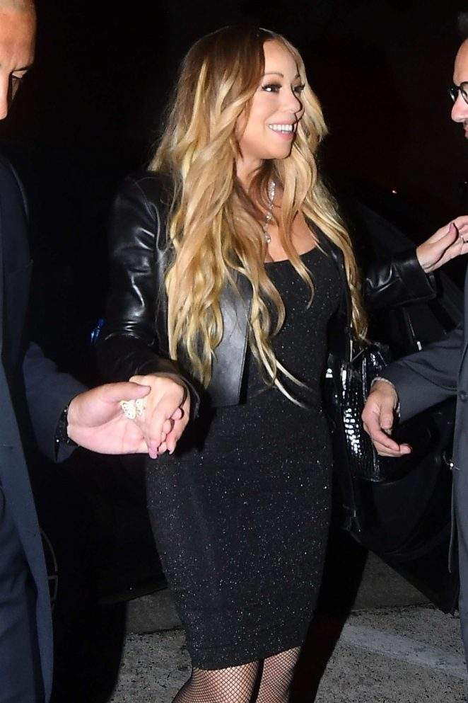 Mariah Carey in Black Dress at Craig's in West Hollywood
