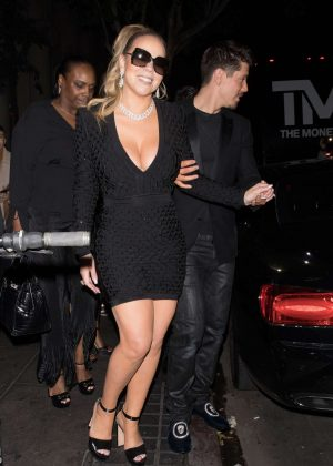 Mariah Carey in Black Mini Dress at Floyd Mayweather's birthday in LA