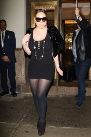 Mariah Carey in Black Mini Dress - Out in NYC