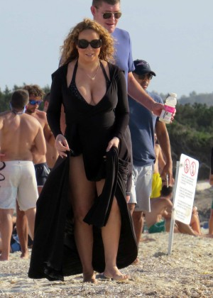 Mariah Carey in Black Swimsuit in Ibiza