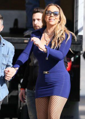 Mariah Carey in Blue Mini Dress Arriving at Jimmy Kimmel Live! in LA