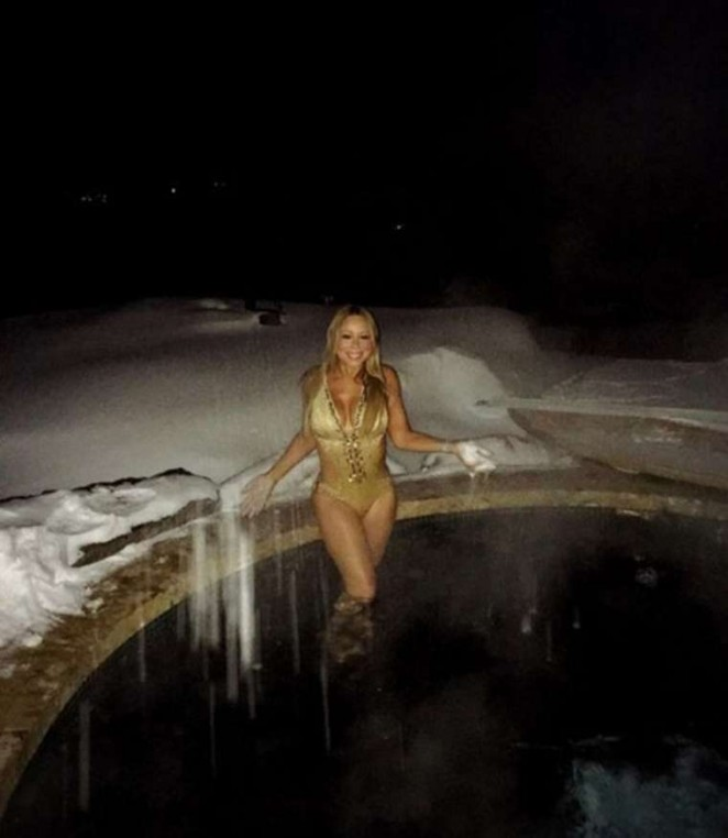 Mariah Carey in Gold Swimsuit on Christmas