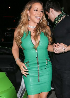 Mariah Carey in Green Dress at Catch LA in West Hollywood