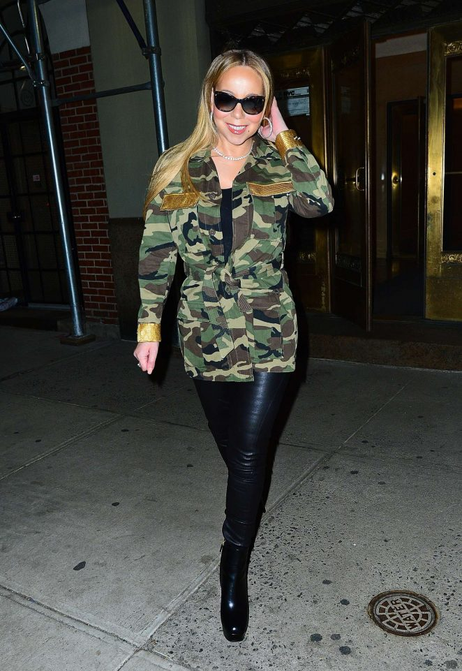 Mariah Carey in leather pants out in New York City