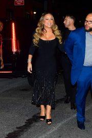 Mariah Carey in Long Black Dress - Out in New York