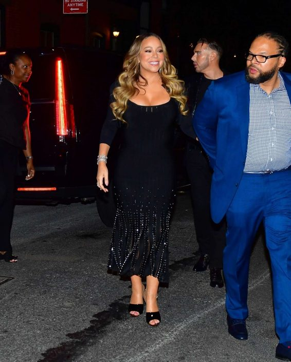 Mariah Carey in Long Black Dress - Out in New York