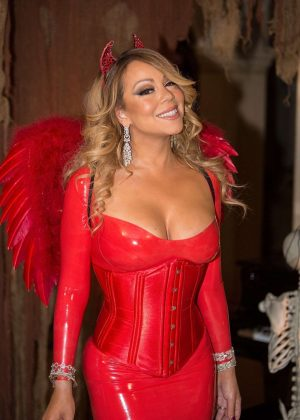 Mariah Carey in Red at Hollywood Halloween Party