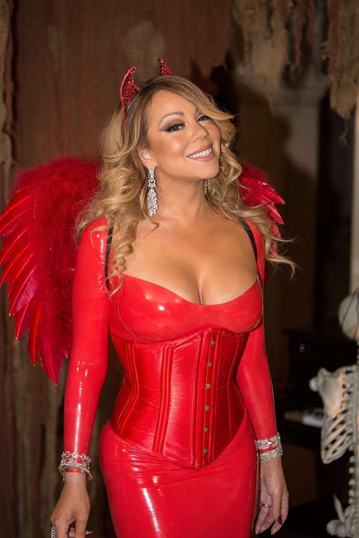 Mariah Carey in Red at Hollywood Halloween Party -07 - GotCeleb
