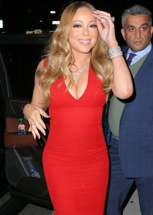 Mariah Carey in Red Dress out in New York City