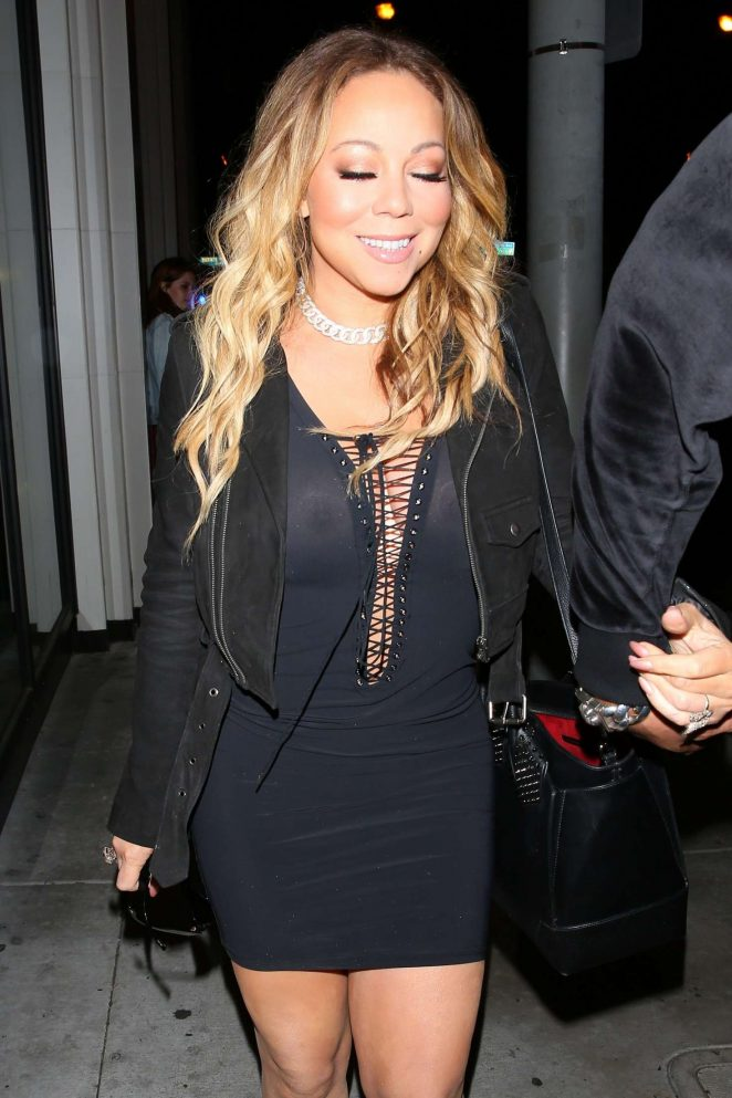 Mariah Carey in sheer mini dress at Catch LA in West Hollywood