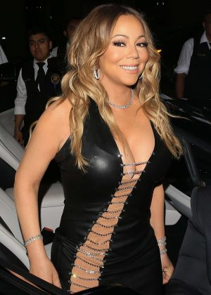 Mariah Carey in Tight Leather Dress at Catch LA in West Hollywood