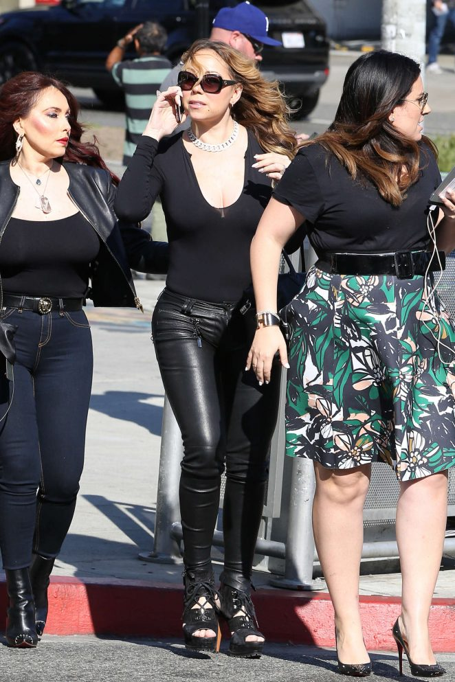 Mariah Carey in tight leather pants -05