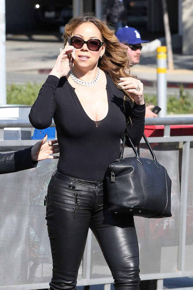 Mariah Carey in tight leather pants out in Beverly Hills