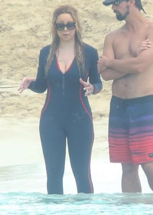 Mariah Carey in wetsuit in the Caribbean