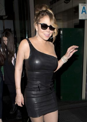 Mariah Carey in Tight Leater Dress at Mr Chow' in Beverly Hills