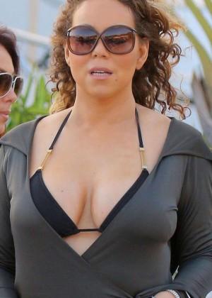 Mariah Carey in Bikini Top in St. Barts