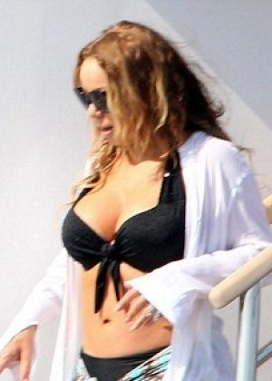 Mariah Carey in Bikini Top on a Yacht in Ibiza